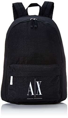 Armani Exchange - Icon Backpack, Mochilas Hombre, Negro (Nero Black), 47x12.5x36 cm (B x H T)