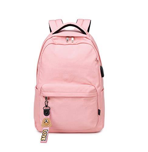 Acmebon Mochila Escolar Clásica para Niña Mochila de Color Liso para Adolescentes Rosado