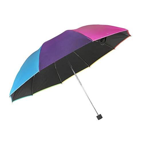 SBSNH Paraguas Plegable De Arco Iris For Agregar Una Sombrilla Unisex, Una Sombrilla Manual Triple