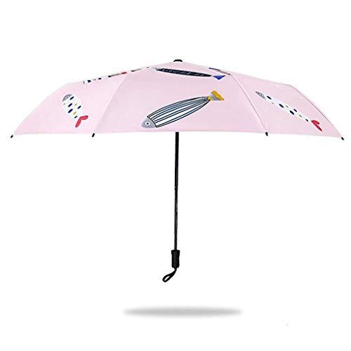 SBSNH Paraguas Plegable. Viaje Compacto Al Aire Libre. Uso Diario. Paraguas Triple Pliegue. La Sra. Niños Caricatura Impresión Paraguas Plegable.