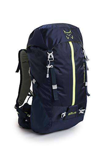 ALTUS - Mochila de Trekking Marbore 30L, Azul Marino, 1,1 Kg | para Recorridos Técnicos, Camping, Viajes | Sistema de Ventilación | Montañismo