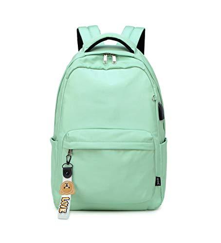 Acmebon Mochila Escolar Clásica para Niña Mochila de Color Liso para Adolescentes Verde Claro