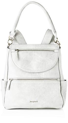 Desigual PU Backpack Medium, Gorilla Sports-Mochila de Poliuretano (tamaño Mediano) para Mujer, Blanco