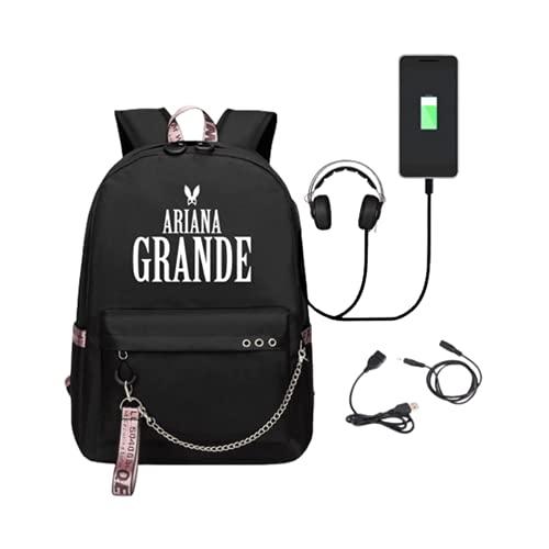 HOBEKOK Mochila Portatil Backpack Puerto USB y Conector Auriculares Paño Oxford Impresión Cartas con Cremallera Adolescente,E