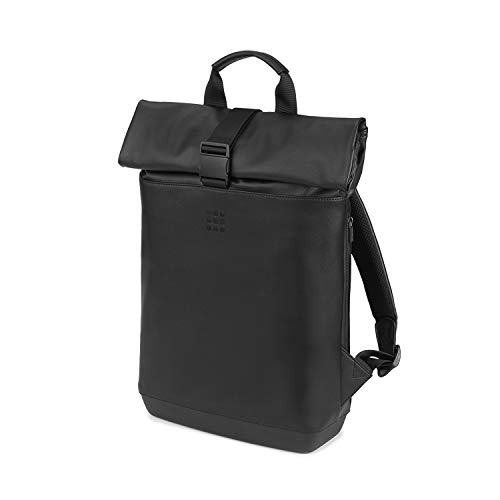 Moleskine - Mochila Clásica Enrollable Multiusos para Ordenador Portátil, Tablet, Notebook, iPad de hasta 15'', Tamaño 40 x 32 x 12 cm, Negro