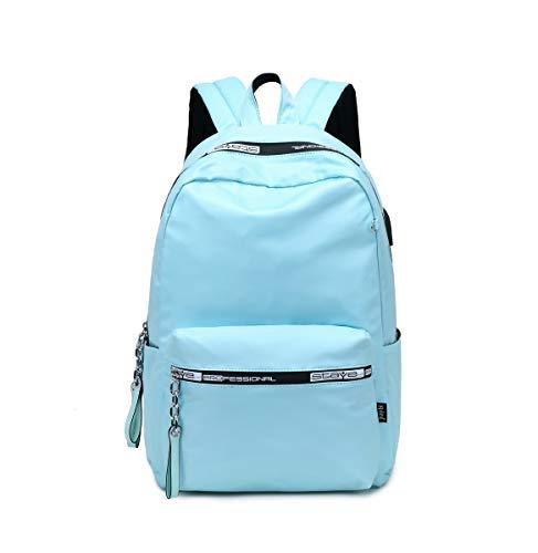 Acmebon Mochila Universitaria Clásica de Chica Mochila de Color Liso Bolso Simple y Casual Azul Claro