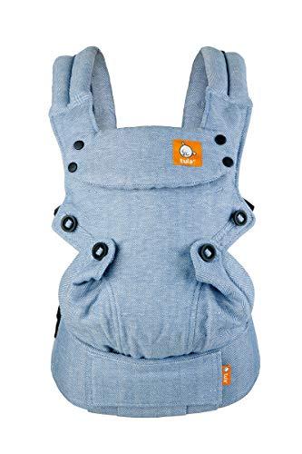 Tula Explore Lino - Rain. Portabebés ergonómico y ajustable con posición frontal hacia fuera diseñado para crecer con tu bebé de 3,2 a 20,4 kg sin necesidad de un cojín bebé. Color azul.