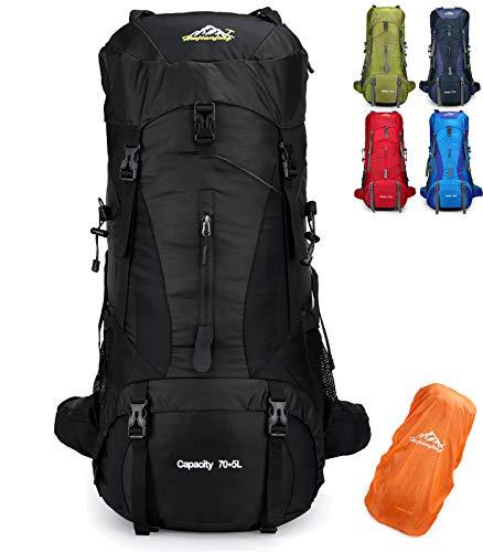 Doshwin 70L Mochila Camping Trekking Senderismo Viaje (con Funda Impermeable) (Negro)