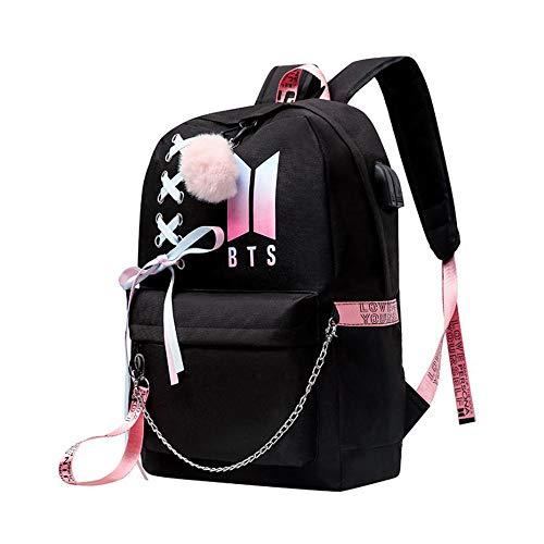 KEBEIXUAN, bolsa de estudiante de escuela intermedia, interfaz lateral USB de configuración informal de mochila BTS college y conector para auriculares. (A)