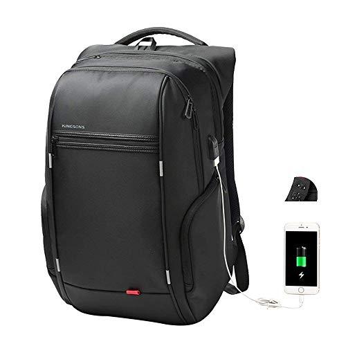 Kingsons Mochila para Ordenador Portátil con USB Puerto de Carga, Unisex Mochila Antirrobo Impermeable Business Laptop Backpack (17 Pulgadas B)