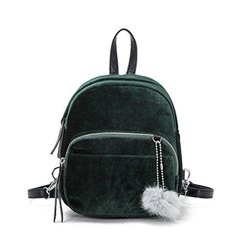 Memefood Mochilas Escolars De Mujer De Terciopelo De Peso Ligero Backpack De Viaje Con Correa Para El Hombro Desmontable Y Ajustable Bolsos Totes Con Bola De Pelo (Verde)