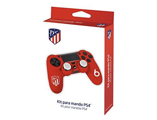Funda protectora de silicona para mando PS4 - Carcasa blanda antideslizante con Thumb grips caps de precisión para joysticks – Accesorios videojuegos con licencia oficial Atlético de Madrid