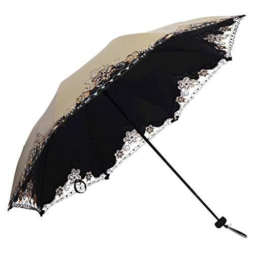 SBSNH Paraguas Plegable Compacto For Abrir Y Cerrar De Forma Manual Sombrillas A Prueba De Intemperie, Sombrilla De Tres Pliegues