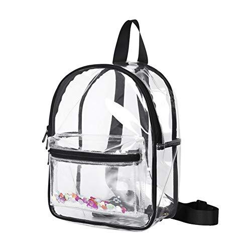 ASSR Mochila transparente de alta resistencia, mochila escolar de PVC con ribete negro,mochilas impermeables para conciertos deportivos estadio viajes