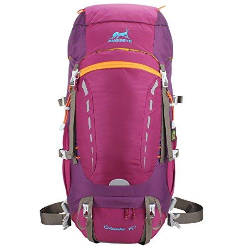 Eshow 40L Mochilas de Senderismo Al Aire Libre de Nailon Impermeable Mochilas Montaña Mochila de Viaje Para Hombre y Mujer Color Rojo Oscuro