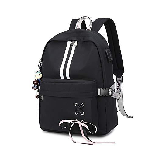 FANDARE Luminoso Mochila Mochilas Tipo Casual Bolsas Escolares Niña Bolsa de Viaje Bolsos de Mujer Adolescente Backpack School Bag Outdoor Viaje Infantiles Daypack Poliéster Negro