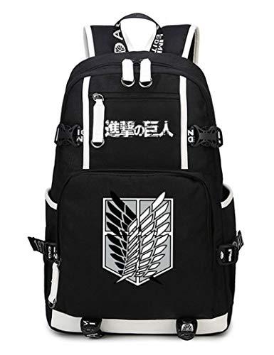 WANHONGYUE Ataque a los Titanes Attack on Titan Anime Estudiante Bolso de Escuela Backpack Mochila para Portátil Negro-5