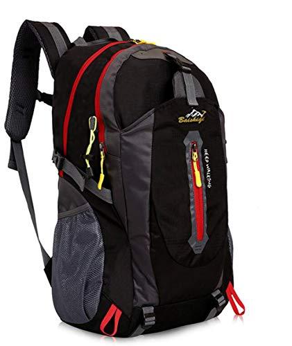 yunplus Mochila de senderismo, ligera, multifuncional, informal, resistente al agua, 40 L, camping, senderismo, mochila para ciclismo, viaje, escalada, deportes al aire libre, Infantil, negro