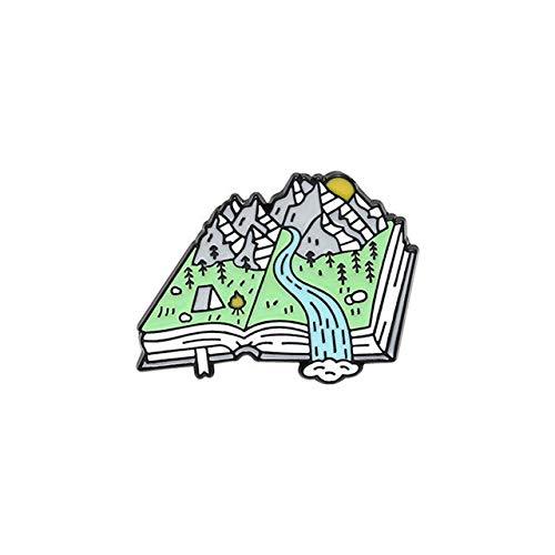 Serie de libros de moda Pines de solapa esmaltados Whit I Was Gonna Say Tourist Atlas Card Mochila Broches-Style 2