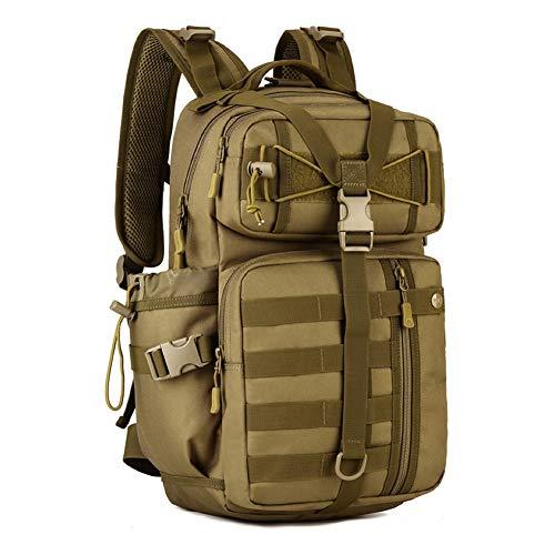 Huntvp 30L Táctical Backpack Mochila de Asalto Mochila de Marcha Molle Militar Gran Bolsa de Hombro Impermeable para Las Actividades Aire Libre Senderismo - Marrón
