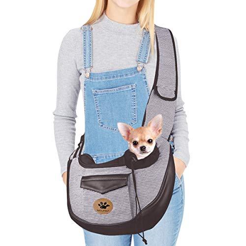 UniM Transportador de Mascotas Perro Gato Pequeño Cachorro Bolsos de Viaje Bolsa de Viaje Plegable Manos Libres Sling Mochila, Café