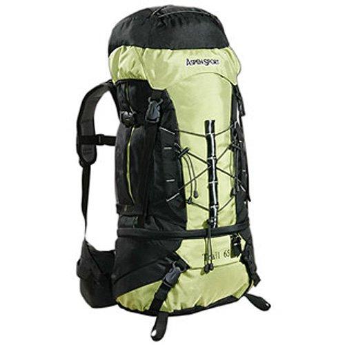 AspenSport Trail - Mochila de Senderismo (65 L), Color Verde y Negro