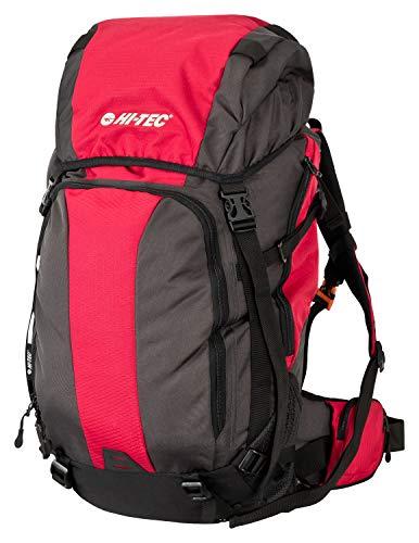 Wanderrucksack Mochila de senderismo ligera Hi-TEC para hombre y mujer, mochila para exteriores, mochila para bicicleta con solapa para casco, de poliéster 600D impermeable, rojo, 50 litros