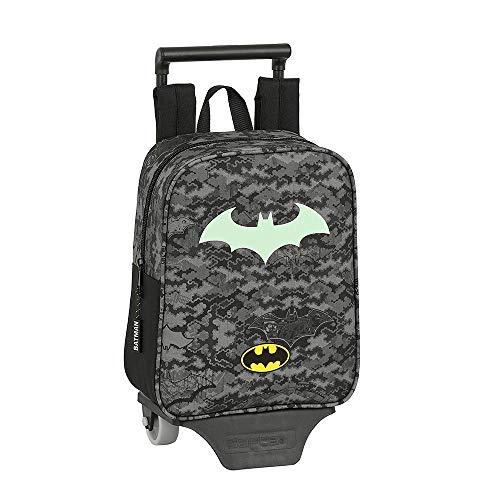 Batman Mini Mochila con Ruedas para Niños, Bolso de Viaje Equipaje Infantil, Diseño Fluorescente Brilla en la Oscuridad, Bolso Mini Escolar con Ruedas, Regalo para Niños!