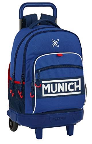 safta 612074918 Mochila Escolar con Carro Incluido y Espalda Acolchada de Munich Retro, 330x220x450mm