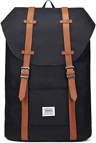 KAUKKO Mochila Casual Mochila de Estudiante Ligero 16' Laptop Bolsa al Aire Libre para Viajar/Deporte/Cámping (Negro)