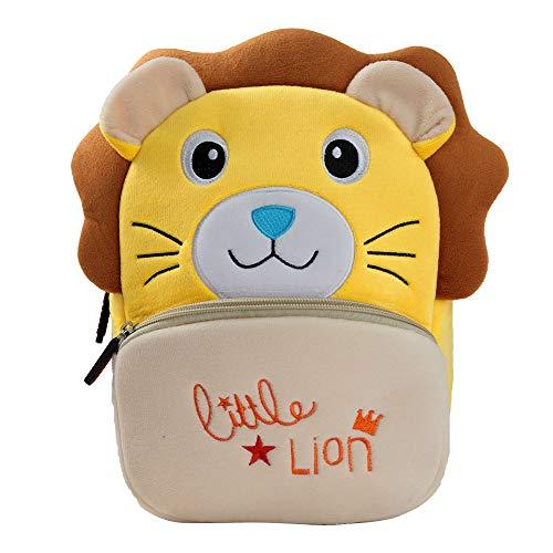 BAIGIO Mochila Infantil Kindergarten,Pequeñas Mochilas Bolsas Escolares de Dibujos Animados Animales para Niñas Primaria 3D Suave Mochila de Felpa Bebe Guarderia Preescolar para 2-4 Años (León)