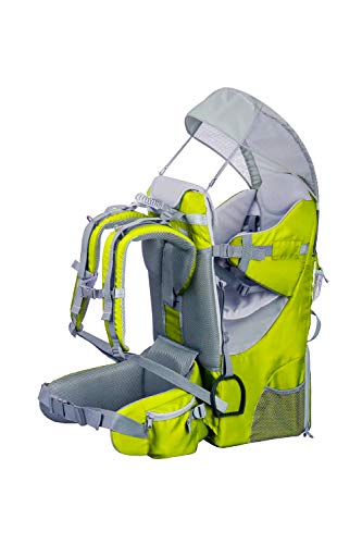 Mochila portabebés ergonómica acolchada, protección solar, cinturón, senderismo, montaña, ciudad, verde