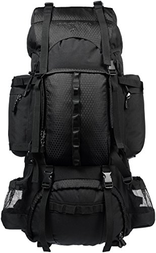Amazon Basics - Mochila de senderismo con estructura interna y capa para lluvia, 75 L, Negro
