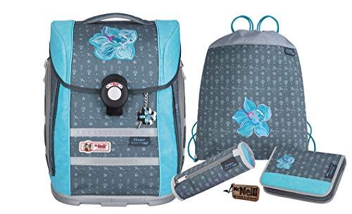 McNeill Mochila escolar Ergo Primero Flower para niña, 4 piezas, mochila escolar para niña, 1ª clase, fabricado en Alemania, gran juego para la escuela primaria