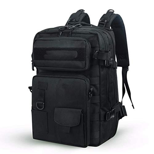 AHWZ Mochila de montañismo al Aire Libre Capacitación Impermeable Bolsa táctica Desmontable 900d Oxford Sports Backpack 30l,Black