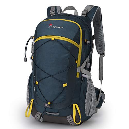 MOUNTAINTOP Mochilas Senderismo 40 litros, Portátil Mochila Trekking Impermeable, Mochilas de Montaña Hombre Mujer para Viajes Acampadas al Aire Libre (Azul Amarillo)
