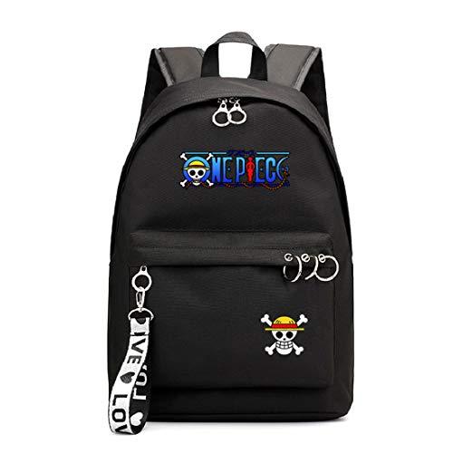 Mylxdn One Piece Anime Mochila Escolar con Puerto De Carga Daypack Ambulante Bolso De Escuela De Hombro Bolsa para Portátil para Niños Y Niñas