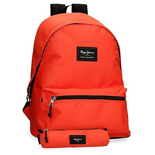 Pepe Jeans Mochila Estuche Aris, Color Naranja, 31x44x17,5 cms
