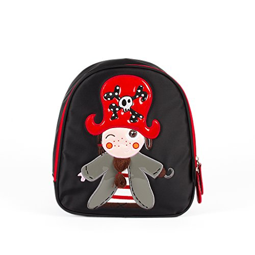 Kiwisac The Pirates Boy Niño Mochila Infantil, 25 cm, Negro