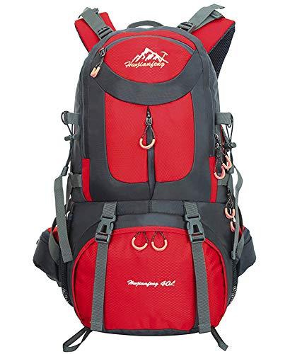 Mochilas de Senderismo al Aire Libre - Mochila de Senderismo Impermeable Macutos Ergonómica Viajes Excursiones Acampadas Trekking, Rojo, 60L