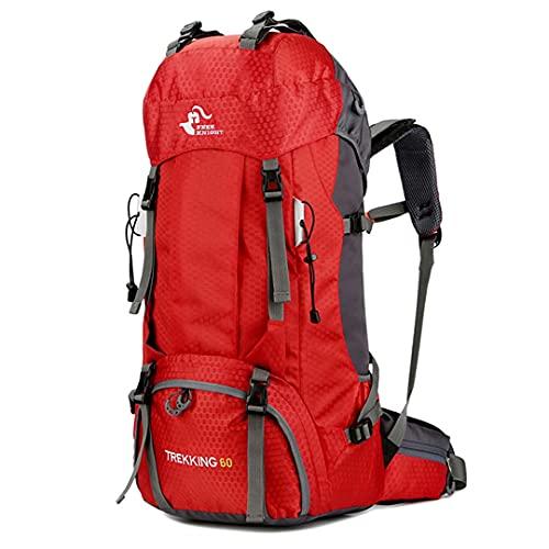 TH&Meoostny Montañismo Camping Gran Capacidad Impermeable Resistente al Desgaste Senderismo Deportes al Aire Libre Mochila Red 50-70L