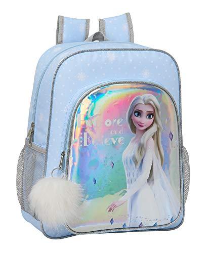 safta 612015640 Mochila junior niña adaptable carro Frozen II, Azul Claro/ Plata