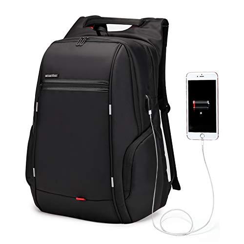 WindTook Mochila Portátil Mochila Trabajo Hombre Impermeable con USB Mochila para Ordenador Portatil 17 Pulgadas Multifunciona Maletín Dackpack Gran Capacidad para Trabajo Viaje 33 x 18 x 49CM Negro