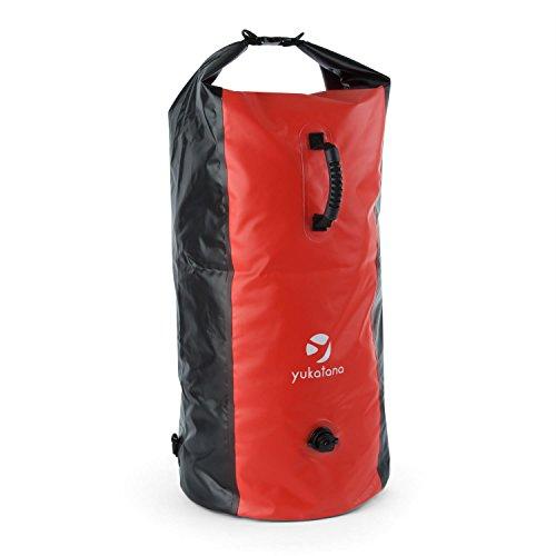 Yukatana Quintono 100 Trekking Mochila 100 litros Impermeable (Petate Viaje, Bolso Resistente Agua, Ideal Camping, excursión, Deportes acuáticos, Correas Ajustables, Cierre estanco, Negro/Rojo)