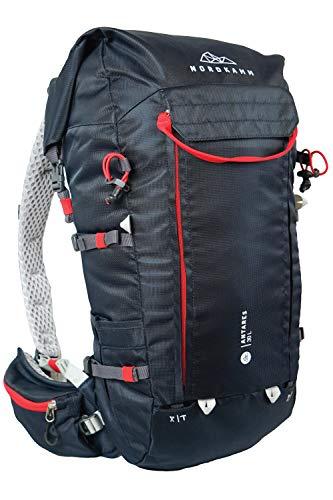 NORDKAMM - Mochila de senderismo para mujer y hombre, 30 L, 40 L, ergonómica, color rojo y azul