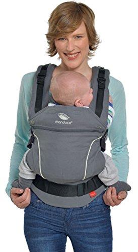 manduca First Baby Carrier  PureCotton DarkGrey  Mochila Portabebe Ergonomica, Algodón Orgánico, Extensión de Espalda Patentada, para Recién Nacidos y Bebés de 3,5 a 20 kg (gris oscuro)
