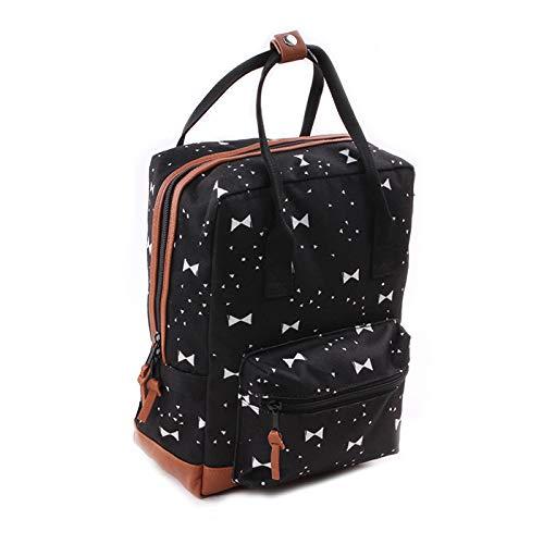 Backpack Kidzroom Black & White Bows Mochila Infantil, 30 cm, Negro (Bows)