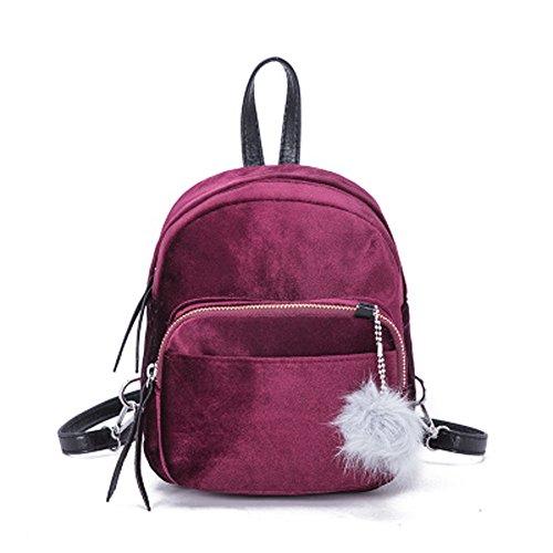 Memefood Mochilas Escolars De Mujer De Terciopelo De Peso Ligero Backpack De Viaje Con Correa Para El Hombro Desmontable Y Ajustable Bolsos Totes Con Bola De Pelo (Vino)