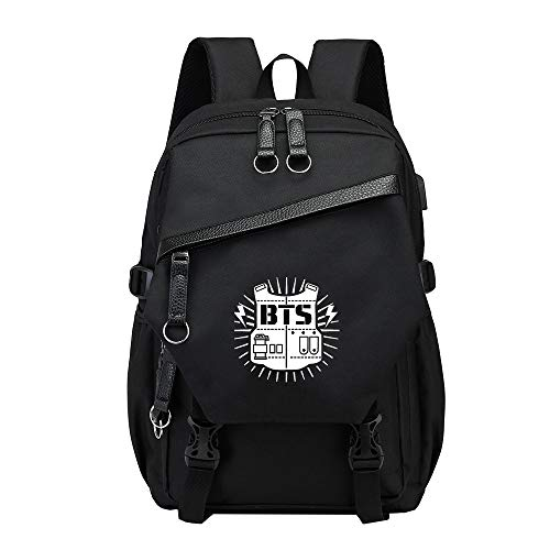 BTS Mochilas Escolares Mochila de Viaje para Mujeres y Hombres Bolsa Casual Mochila para Portátiles Ordenador Portátil Mochila para Aire Libre con USB Puerto de Carga