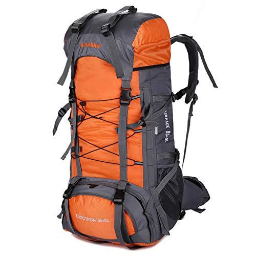 XRPXRP Mochila de senderismo grande de 90 L para hombre, impermeable, para montañismo al aire libre, camping, Orange (Negro) - 030012